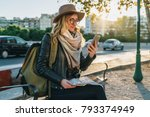 young woman tourist  hipster... | Shutterstock . vector #793374949