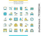 flat line design icons on theme ... | Shutterstock .eps vector #793380244