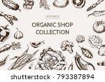 vegetables top view frame.... | Shutterstock .eps vector #793387894
