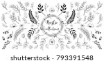rustic hand drawn floral... | Shutterstock .eps vector #793391548
