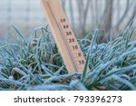 thermometer in frozen grass... | Shutterstock . vector #793396273