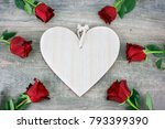 rustic wooden heart and red... | Shutterstock . vector #793399390