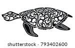 graphic sea turtle | Shutterstock .eps vector #793402600