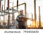 the energy engineer inspects... | Shutterstock . vector #793403650