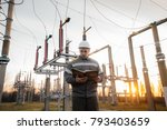 the energy engineer inspects... | Shutterstock . vector #793403659