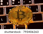 bitcoin gold coins with laptop... | Shutterstock . vector #793406263