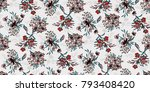 seamless floral pattern in... | Shutterstock .eps vector #793408420