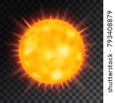 vector orange sun with rays and ... | Shutterstock .eps vector #793408879