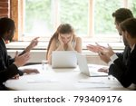 male colleagues pointing... | Shutterstock . vector #793409176