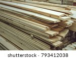 stacked wooden bars fence on a... | Shutterstock . vector #793412038