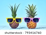 tropical pineapple and coconut. ... | Shutterstock . vector #793416760