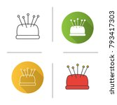 pincushion with pins icon. flat ... | Shutterstock .eps vector #793417303
