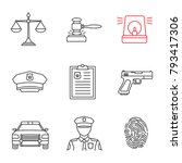 police linear icons set.... | Shutterstock .eps vector #793417306