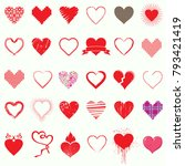 mega set of heart icons symbol... | Shutterstock .eps vector #793421419