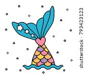 pastel rainbow mermaid tail... | Shutterstock .eps vector #793423123