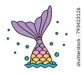 Mermaid Tail Rainbow Pastel...