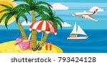sea rest banner horizontal... | Shutterstock .eps vector #793424128