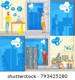 set of six doodle style soft... | Shutterstock . vector #793425280