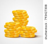 pile of coins. rich and money... | Shutterstock .eps vector #793427308