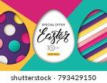 happy easter sale banner.... | Shutterstock .eps vector #793429150