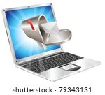 Letter and mailbox flying out of laptop screen concept illustration. - stock photo