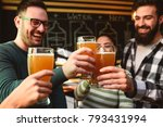 smiling young people drinking... | Shutterstock . vector #793431994