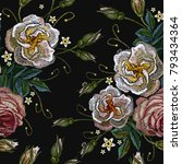 roses embroidery on a black...   Shutterstock .eps vector #793434364