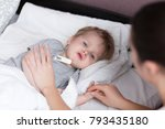 close up of mother measuring... | Shutterstock . vector #793435180