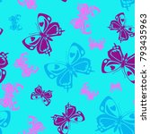 pretty seamless butterfly... | Shutterstock .eps vector #793435963