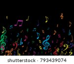 color flying musical notes... | Shutterstock .eps vector #793439074