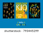 brazil carnival. vector... | Shutterstock .eps vector #793445299