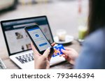 online shopping concept  young... | Shutterstock . vector #793446394