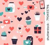 seamless pattern of valentine... | Shutterstock .eps vector #793455796
