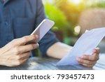 businessman checklist using... | Shutterstock . vector #793457473