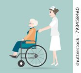 nurse pushing wheelchair of... | Shutterstock .eps vector #793458460