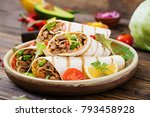 burritos wraps with beef and...   Shutterstock . vector #793458928