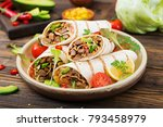 burritos wraps with beef and... | Shutterstock . vector #793458979
