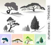 realistic tree icons and symbols | Shutterstock .eps vector #79346065