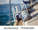 details of sailing equipment on ... | Shutterstock . vector #793463284