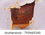 old peeling white paint on... | Shutterstock . vector #793465240