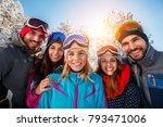 portrait of smiling friends... | Shutterstock . vector #793471006