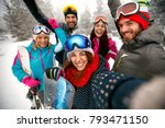 smiling friends having fun on... | Shutterstock . vector #793471150