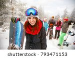 sporty female holds snowboard... | Shutterstock . vector #793471153