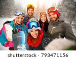 group of friends with ski on... | Shutterstock . vector #793471156