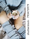 girl in bed wearing wool... | Shutterstock . vector #793473979