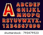 font lamp symbol  gold letter... | Shutterstock .eps vector #793479523