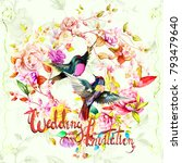 wedding invitation with wild... | Shutterstock .eps vector #793479640