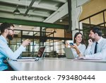 smiling professional hipster... | Shutterstock . vector #793480444