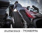 caucasian driver in his 30s... | Shutterstock . vector #793480996