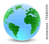 blue globes with continents  ... | Shutterstock .eps vector #793481554